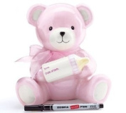 Adorable Pink Baby Girl Bear Piggy Bank Holding Baby Bottle With Birth Information Wonderful Baby Girl Gift!