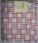 Baby Nursery Pink and White Squares Fleece Blanket