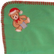 Soft Green Fleece Teddy Bear Baby Blanket with Stitched Edging