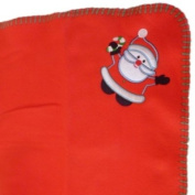 Soft Red Fleece Santa Claus Baby Blanket with Stitched Edging