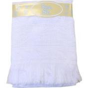 Large Soft White Acrylic Baby Shawl / Blanket - Fern & Waffle Design, 121.9cm x 121.9cm