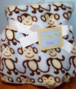 Cutie Pie Monkey Baby Blanket blue