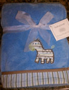 babyGEAR light blue Zebra blanket 76.2cm X101.6cm
