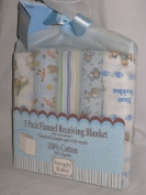 5pc. Flannel 100% Cotton Receiving Blankets. 3 Colours Available