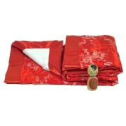 I Frogee Brocade Baby Blankets in Red with Silver Cherry Blossoms Print