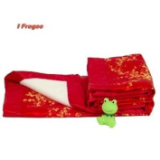 I Frogee Brocade Baby Blankets in Red with Gold Cherry Blossoms Print