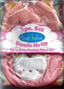 Bon Bebe Kitten or Cat Baby Blanket, Cap & Bib 3-piece Set