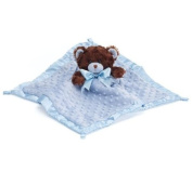 Blue Velboa Security Blanket with Plush Teddy Bear Adorable Nursery Decor