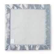 SwaddleDesigns Baby Lovie Security Blanket - Pastel Blue Satin with White Fuzzy