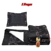 I Frogee Brocade Baby Blanket & Pillow Set in Black/Red & Silver Cherry Blossom Print