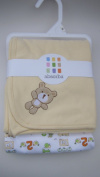 Two Absorba 100% Cotton Blankets, Solid Yellow + 123 Animals Print