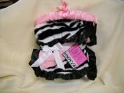Little Safari Pink Black and White Zebra Stripe Reversable Girls Baby Blanket Nursery Decor Shower Gift