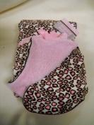 Pink and Brown Little Leopard Reversable Baby Blanket Girls Nursery Decor Shower Gift