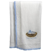 """Tweet Baby"" White and Blue Baby Bird Knit Blanket"