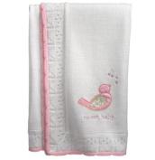 """Tweet Baby"" White and Pink Baby Bird Knit Blanket"