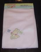 Pink Polar Fleece Baby Blanket Embroidered Design