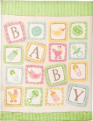 Izzy Coral Fleece Nursery Blanket, Baby Blocks