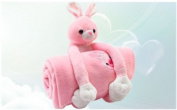 Pink Bunny Plush Blanket for Toddlers