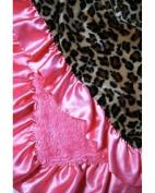 Leopard and Pink Ruffle Stroller Blanket - Lollipop Leopard