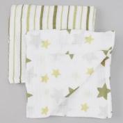 Stars & Stripes Green, Organic Muslin Swaddling Blankets 2 Pack