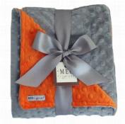 Meg Original Orange & Grey Minky Blanket