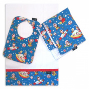 Rocket Rascals Bib, Burp Cloth and Cuddle Blanket Set