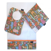 Zoo Safari Bib, Burp Cloth and Cuddle Blanket Set