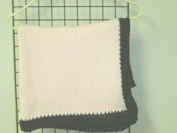 Bk601pb, Hand Made Baby Pink Cotton Dark Brown Henille Trim Baby Girls Blanket 78.7cm x114.3cm