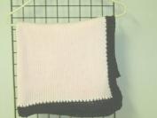 Bk601pb, Hand Made Baby Pink Cotton Dark Brown Henille Trim Baby Girls Blanket 78.7cm x114.3cm