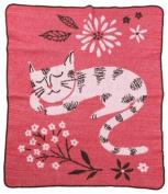 Green 3 Throw Blanket, Sleeping Kitty