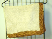 Bk7, Knitted on Hand Knitting Machine Beige Chenille 78.7cm By 114.3cm Blanket Trimmed By Hand Crochet with Dark Brown Chenille for Newborns and Infants