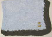 Knitted on Hand Knitting Machine Blue Cotton Hand Crochet Finished with Dark Brown Rayon Chenille Infant Boys Large Blanket Size 32 By 114.3cm Trimmed with Teddy Bear Patch