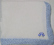Knitted on Hand Knitting Machine Ivory Cotton Hand Crochet Finished with Blue Rayon Chenille Infant Boys Large Blanket Size 32 By 114.3cm Trimmed with Blue Race Car