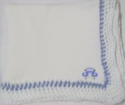 Knitted on Hand Knitting Machine White Cotton Hand Crochet Finished with Denim Cotton White Rayon Chenille Infant Boys Large Blanket Size 32 By 114.3cm Trimmed with Blue Race Car