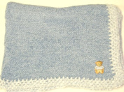 Knitted on Hand Knitting Machine Denim Chenille Trimmed By Hand Crochet with White Chenille Infant Boys Large Blanket Trimmed with Teddy Bear Applique'