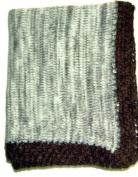 Knitted on Hand Knitting Machine Baby Blue and Dark Brown Tweed Very Soft Cotton Finished By Hand Crochet Blanket.