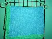 Bk7bl.m, Knitted on Hand Knitting Machine the Hand Crochet Finished Blue Chenille Lt Mint Trim 81.3cm x116.8cm Blanket