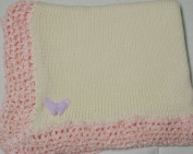 Knitted on Hand Knitting Machine Ivory Cotton Hand Crochet Finished with Pink Rayon Chenille Infant Girls Large Blanket Size 32 By 114.3cm Trimmed with Lilac Velvet Rhinestone Butterfly