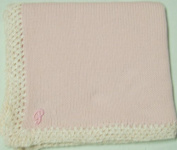 Knitted on Hand Knitting Machine Baby Pink Cotton Hand Crochet Finished with Baby Pink Rayon Chenille Infant Girls Large Blanket Size 32 By 114.3cm Trimmed with Pink Name or Initials up to Five Letters
