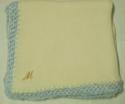 Knitted on Hand Knitting Machine Ivory Cotton Hand Crochet Finished with Blue Chenille Infant Boys Large Blanket Size 32 By 114.3cm with Customer Chosen Ivory Letter Monogram