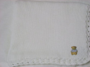 Knitted on Hand Knitting Machine White Cotton Hand Crochet Finished with White Chenille Infant Boys Large Blanket Size 32 By 114.3cm Teddy Bear Patch