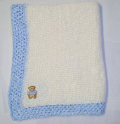 Knitted on Hand Knitting Machine Natural 100% Rayon Chenille Hand Crochet Finished with Blue Chenille Infant Boys Large Blanket Size 32 By 114.3cm Trimmed with Teddy Bear