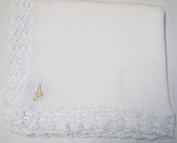 Knitted on Hand Knitting Machine White Chenille Finished By Hand Crochet Infant Boys and Girls with Customer Chosen Ivory Monogram Letter Large 81.3cm By 116.8cm Blanket