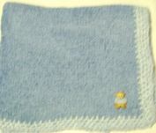 Knitted on Hand Knitting Machine Denim Chenille Hand Crochet Finished with Blue Rayon Chenille Infant Boys Large Blanket Size 32 By 114.3cm Trimmed with Teddy Bear Patch