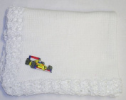 Bk701, Knitted on Hand Knitting Machine White Cotton Trimmed By Hand Crochet with White Chenille Blanket for Infant Boys with Racing Car Appliqué'