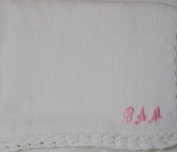 Knitted on Hand Knitting Machine White Cotton Hand Crochet Finished with White Chenille Infant Girls Large Blanket Size 32 By 114.3cm Trimmed with Customer Chosen Pink Letter Name.