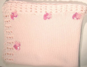 Bk86, Knitted on Hand Knitted Machine Baby Pink Cotton Trimmed By Hand Crochet with Pink Infant Girls Blanket with Hot Pink Sequin Hearts