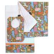 Zoo Safari Bib, Burp Cloth and Receiving Blanket Set