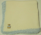 Knitted on Hand Knitting Machine Ivory Cotton Hand Crochet Finished with Blue Chenille Infant Boys Large Blanket Size 32 By 114.3cm with Teddy Bear Patch