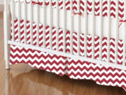 SheetWorld - Crib Skirt (28 x 52) - Red Chevron Zigzag - Made In USA